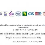 Declaración Conjunta sobre Coronavirus (SARS-CoV-2 – COVID-19)